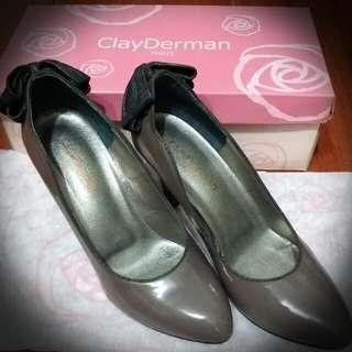 🚚 ClayDerman 紫褐色蝴蝶結高跟鞋