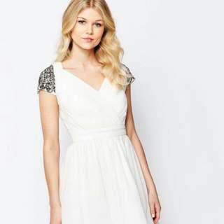 White Dress With Embellished Shoulder