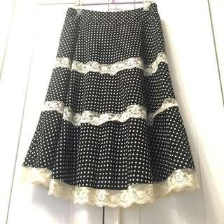 設計師品牌Mosdiors點點蛋糕蕾絲裙/A字裙/中長裙/及膝裙(9號)