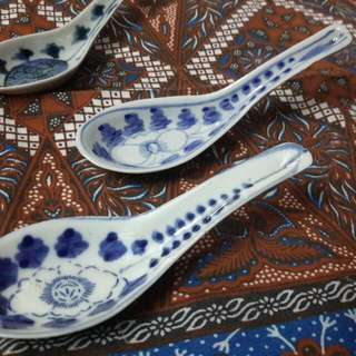 Antique Blue And White Spoon