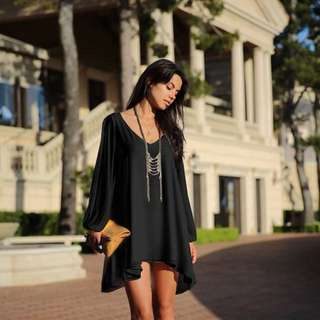 BLACK SLIT SHIFT FLOWY DRESS