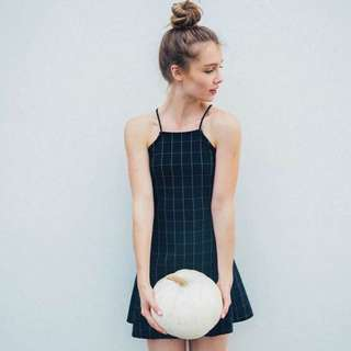 AA INSPIRED GRID HALTER DRESS