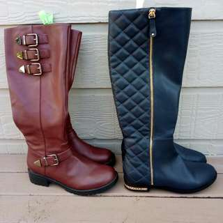 Leather boots (burgundy & navy blue)
