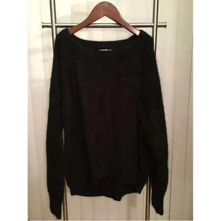 Fuzzy H&M Mohair/Angora Sweater (BLACK, SIZE 4)