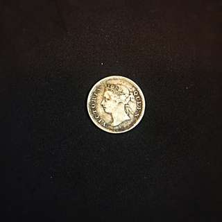 1889 Straits Settlements Queen Victoria 5 Cents Silver Coin VF/VF+