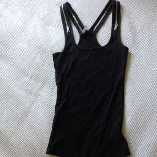 Black Singlet With Zip Straps