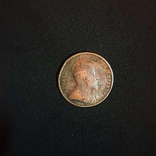 1908 Straits Settlements King Edward VII 1/2 Bronze Cent Bronze Coin VF-
