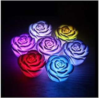 Fetoo Flameless Candles LED Romantic Rose Flower Night Light Floating Candle