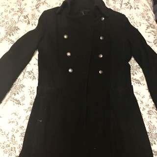 Black Med-Length Peacoat