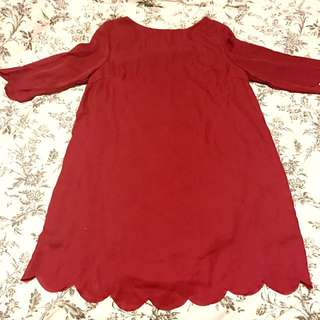 Scalloped Red Tobi Dress
