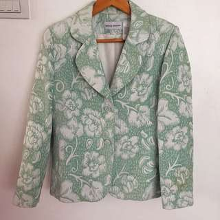 MINT GREEN BLAZER WITH FLORAL EMBOSSED DETAILS