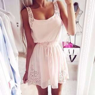 WHITE CHIFFON LASER CUT DRESS