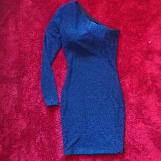 One Shoulder, Long Sleeve Fitted Dress