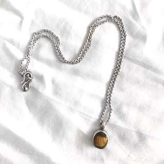 Tiger eye Pendent With Silver Chain