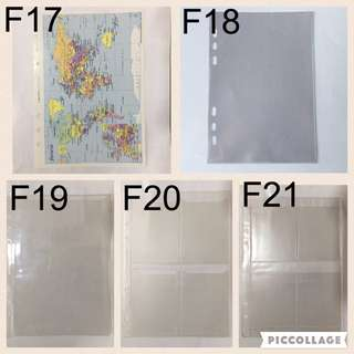 Filofax Map/Business/Credit Card Holder/Zip Lock Envelope/Top Opening Envelopes Inserts for A5 Size Planner/Organizer