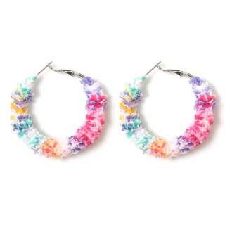 日本原宿系品牌 Bubbles 繽紛少女風彩色毛毛圈圈耳環