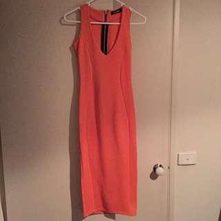 Orange Bodycon Midi Dress