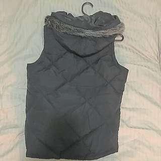 Puffy Hood Sleeveless Coat
