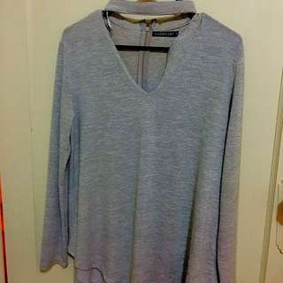 Long Sleeve Top With Choker Attached