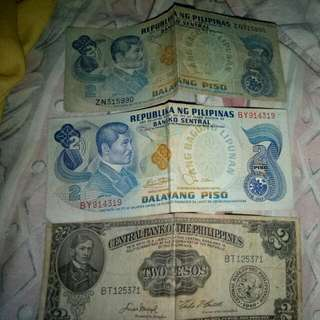 Old 2 Peso Bills,: Year 1949