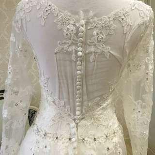 婚紗 白紗 長拖尾 施華洛水晶