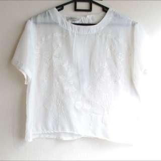 Ensemble Sheer White Crop Top (FREE SIZE)