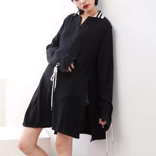 全新✨條紋小v翻領手袖綁帶長袖針織開岔長版上衣/洋裝