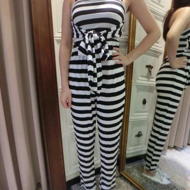 全新●黑白條紋平口褲裝●