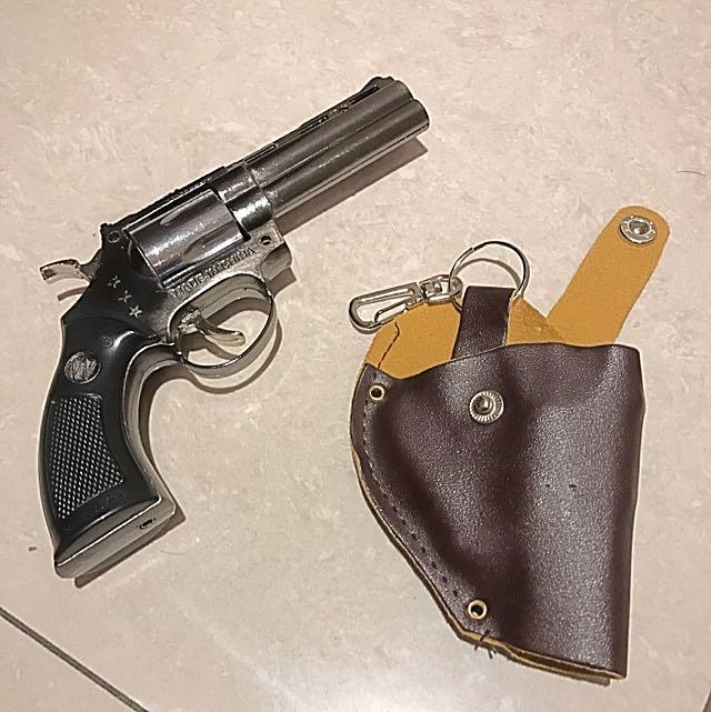 手槍型打火機!附專屬皮套#打火機#瓦斯