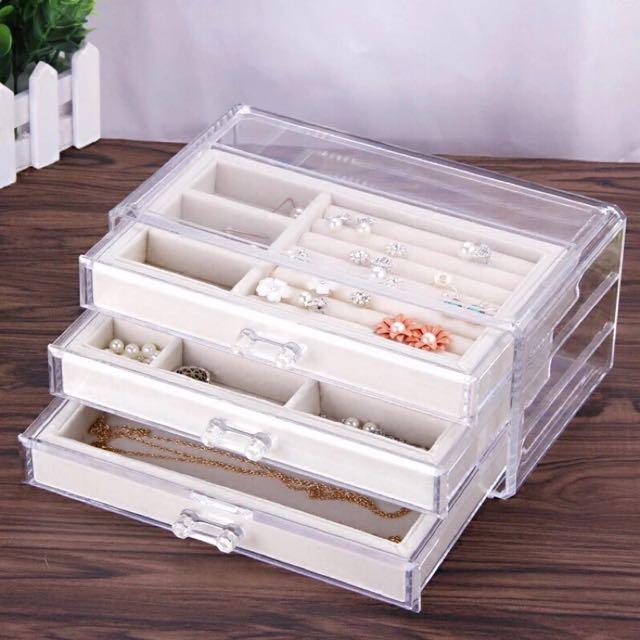 首飾收納盒 透明壓克力飾品盒戒指盒绒布盒(預購)