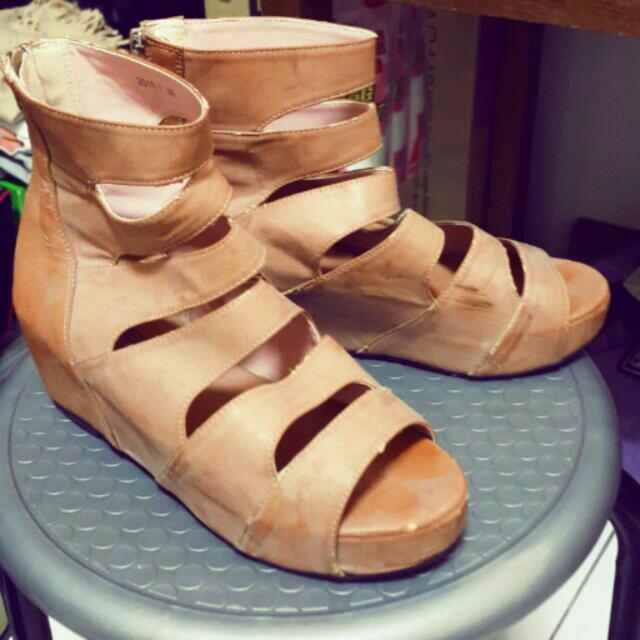 二手 後拉鍊羅馬鞋楔形鞋涼鞋