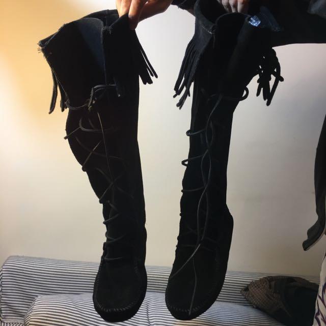 莫卡辛黑色麂皮流蘇長靴 #運費我來出
