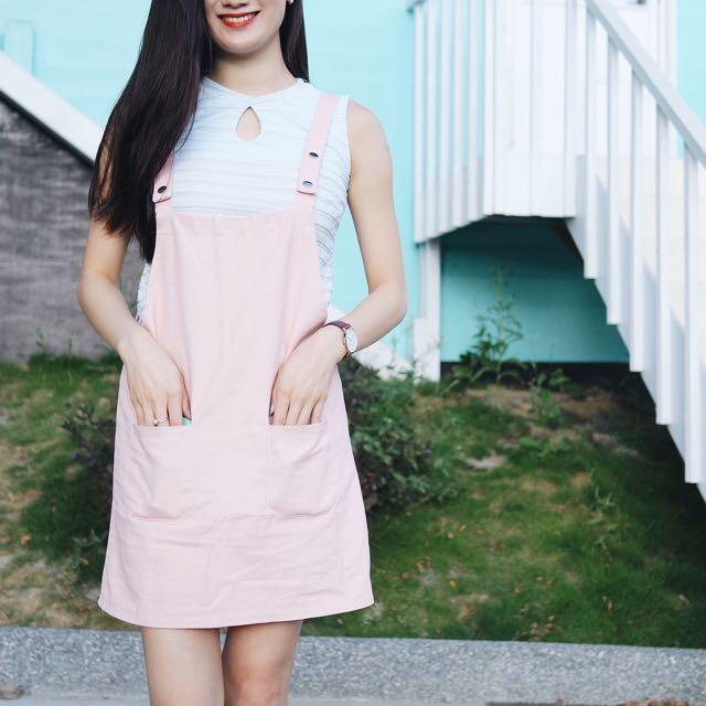 粉紅吊帶裙 可愛吊帶裙
