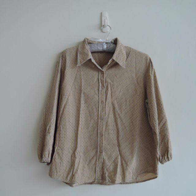 日本製 古著 簡約幾何對稱圖騰絨布襯衫