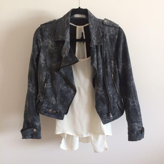 Acid Wash Biker Jacket Size 8