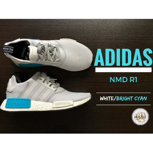 Adidas Originals NMD R1 (White / Bright Cyan)