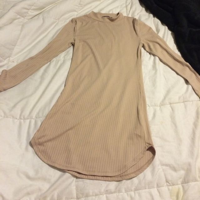 beige form fitting dress