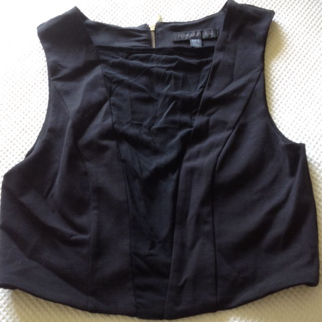 Black Crop Top With See-through Material Down The Middle