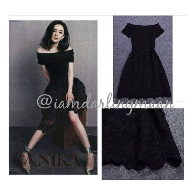 Black Korean Lace Off Shoulder Dress