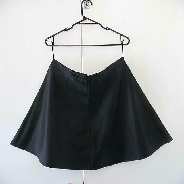 Black Leather-look Skater Skirt- Sz14