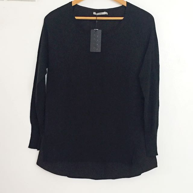 BLACK LONGSLEEVES WITH SHEER UNDER LINING