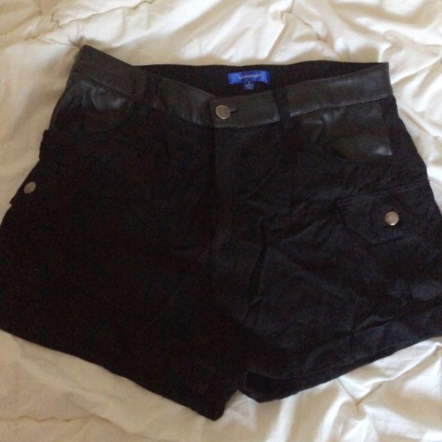 Black Pleather Detail Shorts