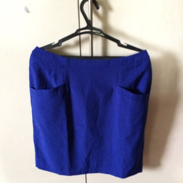 Blue Pencil Cut Skirt