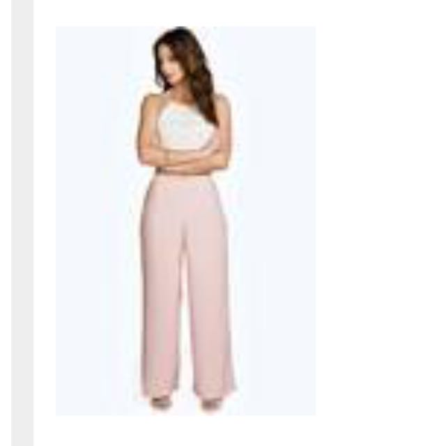Boohoo Wide Trousers In Nude