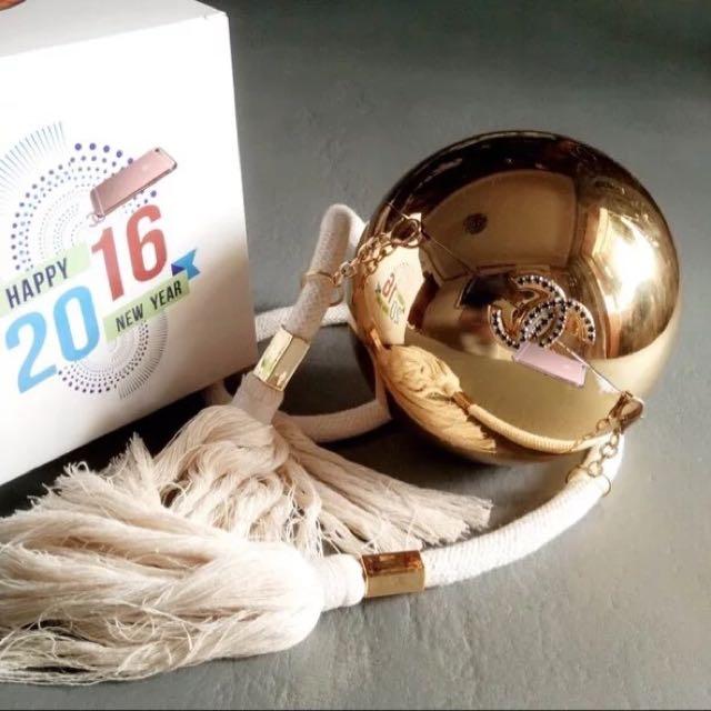 Chanel golden ball clutch from dubai