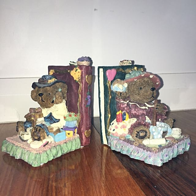 Collectible Teddy Bear Library Vintage Bookends