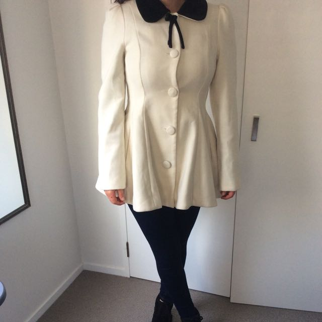 Cream Peplum Coat $40 Ono