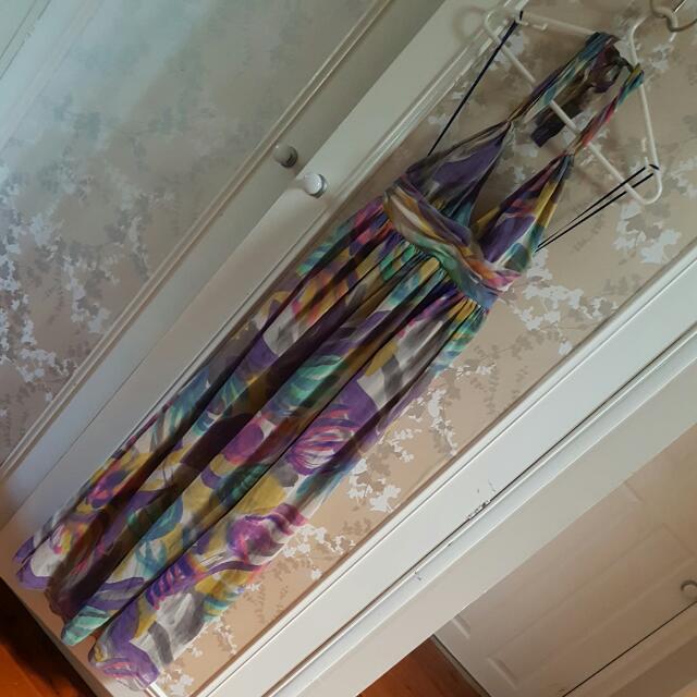 Halter Floral Summer Maxi Dress Size 8