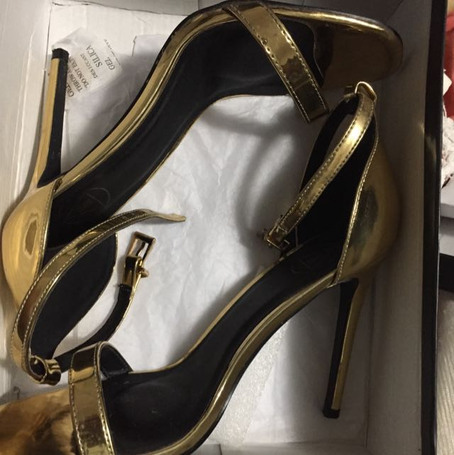High Gold Shine Heeled Sandals