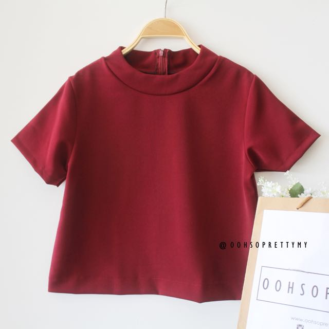 Jean Maroon Cropped Top